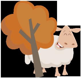 Sheep behind a tree