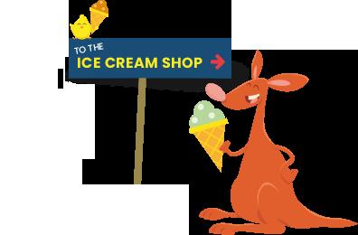 A Kangaroo with an ice cream